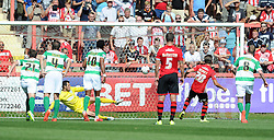 Exeter City's Tom Nichols scores his sides goal - Photo mandatory by-line: Harry Trump/JMP - Mobile: 07966 386802 - 08/08/15 - SPORT - FOOTBALL - Sky Bet League Two - Exeter City v Yeovil Town - St James Park, Exeter, England.