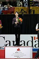 KELOWNA, BC - OCTOBER 27: Mens long program gold medalist, Japanese skater Yuzuru Hanyu stands on the podium at Prospera Place on October 27, 2019 in Kelowna, Canada. (Photo by Marissa Baecker/Shoot the Breeze)