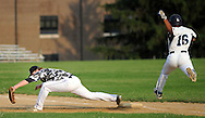Newtown first baseman Colin Cunningham forces out Yardley Morrisville's Tyrone Hodges #16 in the 5th inning at Council Rock North High School Tuesday June 30, 2015 in Newtown, Pennsylvania. (Photo by William Thomas Cain)