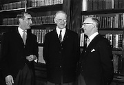 16/03/1965<br /> 03/16/1965<br /> 16 March 1965<br /> New Supreme Court Judge and New Attorney General appointed. Picture shows President Eamon de Valera (centre) chatting with Colm Condon S.C., (left) the new Attorney General and Aindrias O Caoimh, (right) new Judge of the Supreme Court after the ceremony at Aras an Uachtarain.