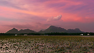 Evening clouds turn to fire over the mountains north of Azhagappapuram, Tamil Nadu, India.