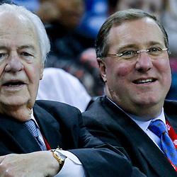 October 9, 2012; New Orleans, LA, USA; New Orleans Hornets and New Orleans Saints owner Tom Benson and team president Dennis Lauscha during the second half of a preseason game against the Charlotte Bobcats at the New Orleans Arena. The Hornets defeated the Bobcats 97-82.  Mandatory Credit: Derick E. Hingle-US PRESSWIRE