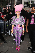 20.JANUARY.2011. LONDON<br /> <br /> US HIP HOP STAR NICKI MINAJ ARRIVING AT THE RADIO 1 STUDIOS IN LONDON WEARING A BIG PINK WIG WITH A TIGHT LYCRA CAT SUIT.<br /> <br /> BYLINE: EDBIMAGEARCHIVE.COM<br /> <br /> *THIS IMAGE IS STRICTLY FOR UK NEWSPAPERS AND MAGAZINES ONLY*<br /> *FOR WORLD WIDE SALES AND WEB USE PLEASE CONTACT EDBIMAGEARCHIVE - 0208 954 5968*
