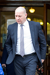 © Licensed to London News Pictures. 13/11/2017. Wakefield UK. Corpus Christi School Head teacher Steve Mort at Wakefield Coroners Court today. The inquest into the death of Leeds teacher Ann Maguire is starting today at Wakefield Coroners Court. Mrs Maguire, a 61 year old Spanish teacher, was stabbed to death by Will Cornick at Corpus Christi Catholic College in Leeds in April 2014. The school pupil, who was 15 at the time, admitted murdering Mrs Maguire and was given a life sentence later that year. Since then, some of Mrs Maguire's family have campaigned for further investigation into her death as they believe more could have been done to prevent the tragedy. Photo credit: Andrew McCaren/LNP
