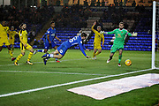 Peterborough United forward Jason Cummings (35) misses this header at the back post during the EFL Sky Bet League 1 match between Peterborough United and Oxford United at London Road, Peterborough, England on 8 December 2018.