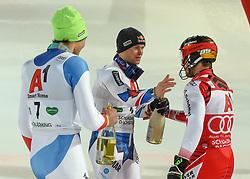 "29.01.2019, Planai, Schladming, AUT, FIS Weltcup Ski Alpin, Slalom, Herren, Siegerehrung, im Bild Daniel Yule (SUI, dritter Platz) Alexis Pinturault (FRA, zweiter Platz) Marcel Hirscher (AUT, Sieger) // Third Place Daniel Yule of Switzerland Second Place Alexis Pinturault of France Winner Marcel Hirscher of Austria during the winner Ceremony for the men's Slalom ""the Nightrace"" of FIS ski alpine world cup at the Planai in Schladming, Austria on 2019/01/29. EXPA Pictures © 2019, PhotoCredit: EXPA/ Erich Spiess"