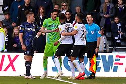 Jayden Bogle of Derby County attempts to get at Kiko Casilla of Leeds United - Mandatory by-line: Ryan Crockett/JMP - 11/05/2019 - FOOTBALL - Pride Park Stadium - Derby, England - Derby County v Leeds United - Sky Bet Championship Play-off Semi Final 1st Leg