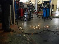 Inside a garage