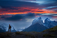 South America; Patagonia; Chile; Torres del Paine; National Park; UNESCO; World Heritage,Cuernos del Paine, girl hiking in the andes