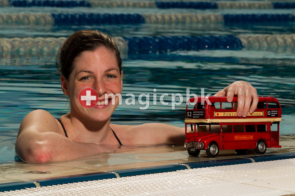 Swimmer Danielle VILLARS of Switzerland is pictured with a London bus during a photo session at the 50m outdoor training pool at the Centro sportivo nazionale della gioventu in Tenero, Switzerland, Thursday, July 19, 2012. (Photo by Patrick B. Kraemer / MAGICPBK)