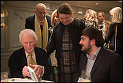 BRYAN SEWELL;  FIONA HUGHES, , Fortnum and Mason and Quartet books host a celebration for the publication of  The White Umbrella by Brian Sewell. Illustrated by Sally Ann Lasson. Fortnum and Mason. Piccadilly. London. 3 March 2015.