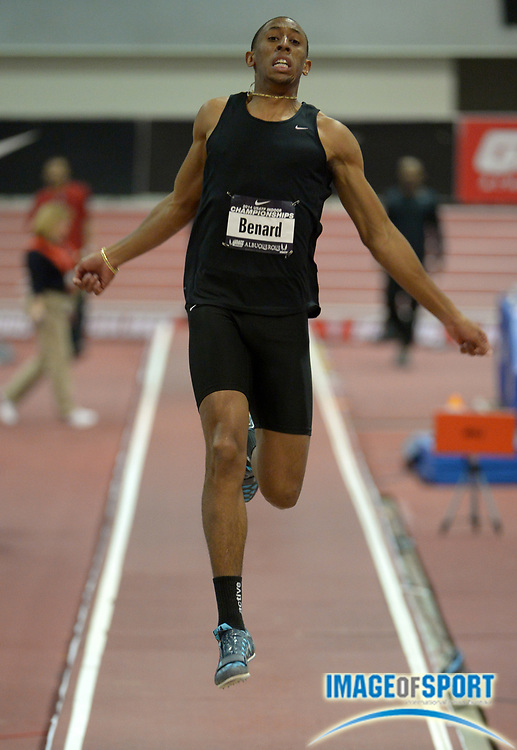 Feb 22, 2014; Albuquerque, NM, USA; Chris Bernard finishes second in the long jump at 26-6 1/4 (8.08m) in the 2014 USA Indoor Championships at Albuquerque Convention Center.