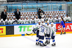 Players of Slvoenia during ice hockey match between Hunngary and Kazakhstan at IIHF World Championship DIV. I Group A Kazakhstan 2019, on May 3, 2019 in Barys Arena, Nur-Sultan, Kazakhstan. Photo by Matic Klansek Velej / Sportida