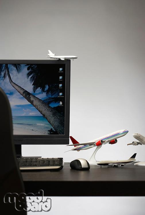 Toy aeroplane on office desk