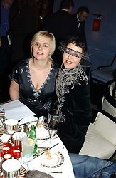 Left to right, MICHELLE FEENY vice President of MAC Europe and ISABELLA BLOW at the launch of MAC's High Tea collection with leading British designers held at The Berkeley Hotel, London on 17th January 2005.  MAC has collabroated with The Berkeley's Pret-a-Portea, which adds a creative twist to th classic elements of the English afternoon tea with cakes and pastries inspired by fashion designs.<br /><br />NON EXCLUSIVE - WORLD RIGHTS