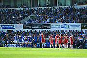 Players take a drinks break during the EFL Sky Bet Championship match between Ipswich Town and Middlesbrough at Portman Road, Ipswich, England on 6 May 2018. Picture by Stephen Wright.