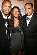 """l to r: Londell McMillan, Valiesha Butterfield and Dr, Ben Chavis at The Russell Simmons and Spike Lee  co-hosted """"I AM C.H.A.N.G.E!"""" Get out the Vote Party presented by The Source Magazine and The HipHop Summit Action Network held at Home on October 30, 2008 in New York City"""