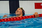 Alice Tai of Great Britain celebrates winning the Gold Medal in the Women's 100 m Freestyle S8 at the World Para Swimming Championships 2019 Day 1 held at London Aquatics Centre, London, United Kingdom on 9 September 2019.