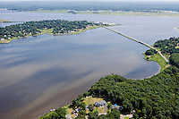 Aerial of South Cove, Old Saybrook, CT at the mouth of the Connecticut River.