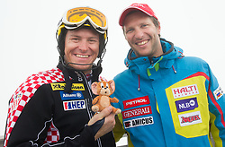Ivica Kostelic of Croatia and Andrej Jerman during last race of Andrej Jerman, Slovenian best downhill skier when he finished his professional alpine ski career on April 6, 2013 in Krvavec Ski resort, Slovenia. (Photo By Vid Ponikvar / Sportida)