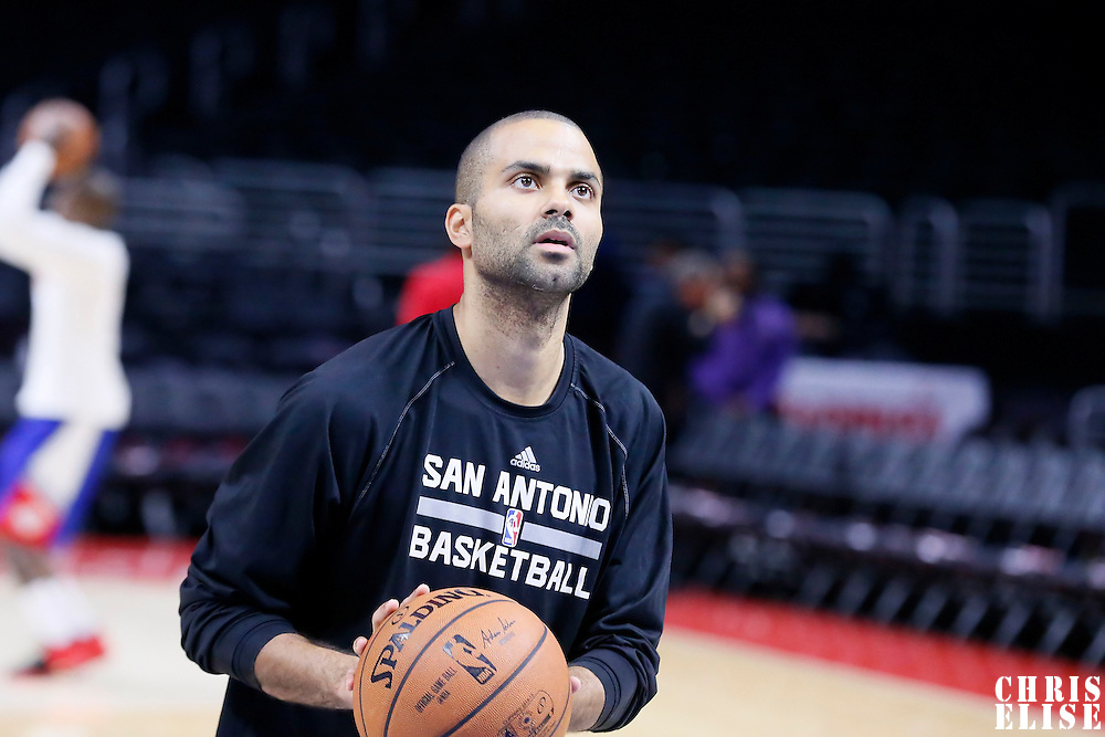 10 November 2014: San Antonio Spurs guard Tony Parker (9) warms up prior to San Antonio Spurs 89-85 victory over the Los Angeles Clippers, at the Staples Center, Los Angeles, California, USA.