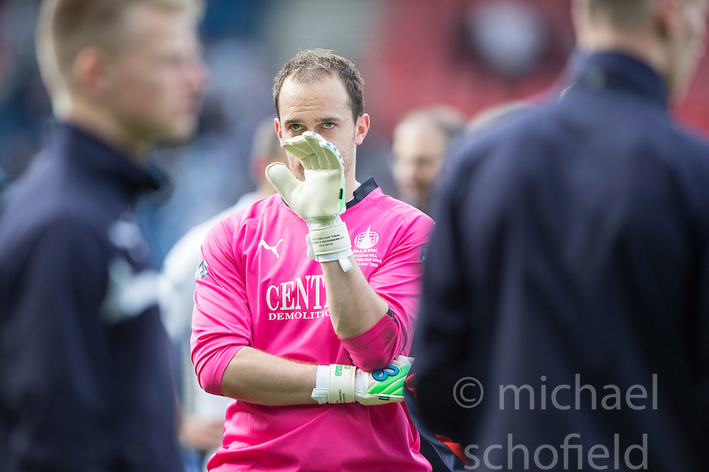 Falkirk's keeper Jamie MacDonald at the end. Falkirk 1 v 2 Inverness CT, Scottish Cup final at Hampden.