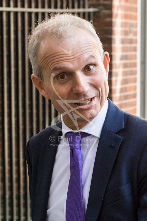Downing Street, London, April 25th 2017. Leader of the House of Commons David Lidington leaves the weekly cabinet meeting at 10 Downing Street in London. Credit: ©Paul Davey