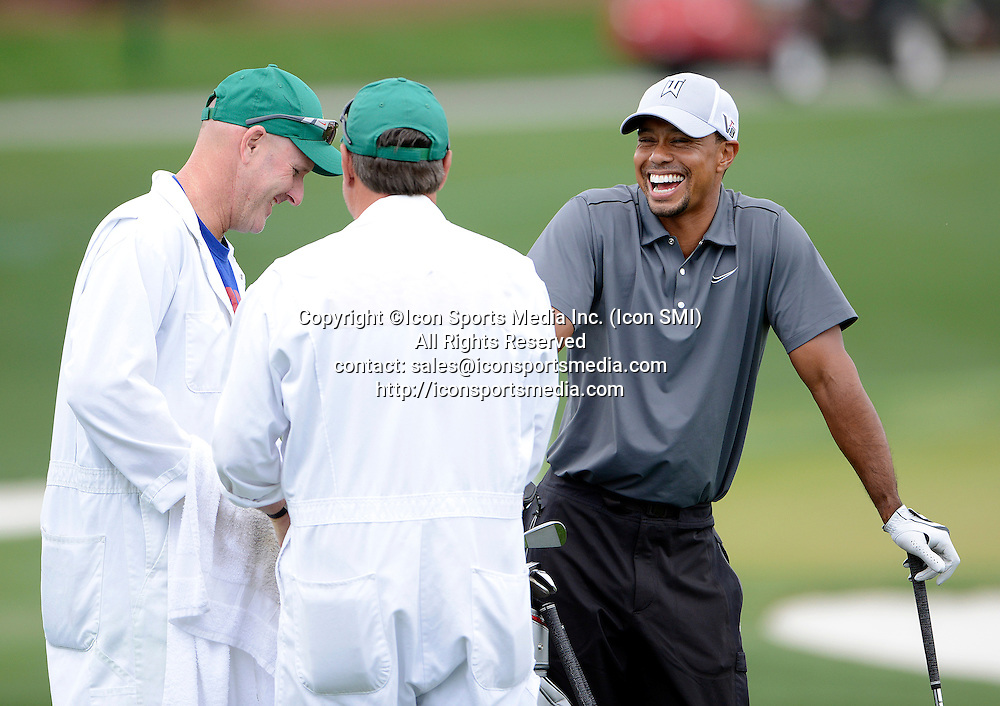 April 7, 2013 - Augusta, Georgia, U.S. - TIGER WOODS hits the driving range as he prepares for the Masters Tournament Sunday at Augusta National.