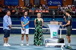 Runner up Viktor Durasovic of Norway and winner Aljaz Bedene of Slovenia at trophy ceremony after the Final match at Day 10 of ATP Challenger Zavarovalnica Sava Slovenia Open 2019, on August 18, 2019 in Sports centre, Portoroz/Portorose, Slovenia. Photo by Vid Ponikvar / Sportida