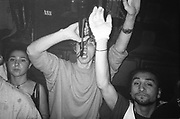 Gloves and party horns, Dream FM Pirate Radio Benefit, Labyrinth Dalston, London, 1994.