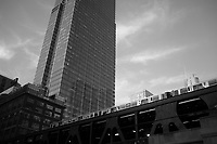 A Brown Line train crosses over the Chicago River en route to the &quot;Loop,&quot; so named for the elevated tracks that encircle the area. <br />