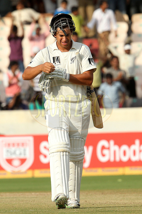 Ross Taylor of New Zealand  leaves after being bowled by S Sreesanth of India during day four of the second test match between India and New Zealand held at the Rajiv Gandhi International Cricket Stadium in Hyderabad on the 14th November 2010..Photo by Ron Gaunt/BCCI/SPORTZPICS
