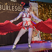 Louise L'Amour , Portugal  preforms at the London Burlesque Festival the VIP Opening Gala at Conway Hall on 18th May 2017, UK. by See Li