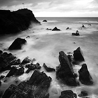 Rocky beach and rough sea