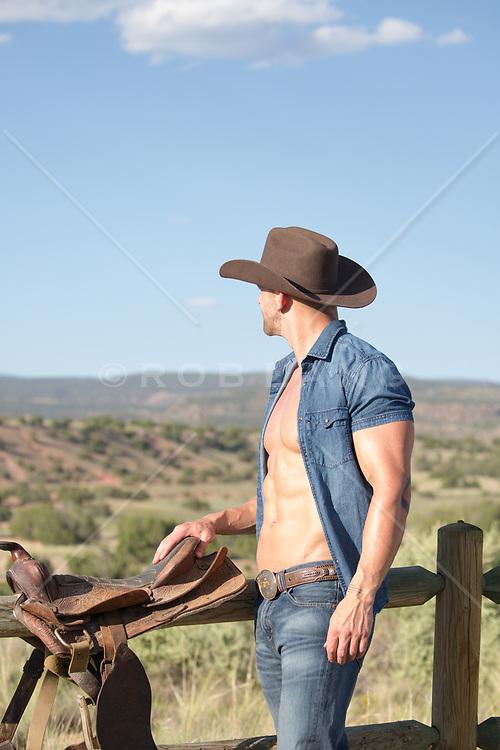hot cowboy with an open shirt
