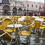 """VENICE - ITALY November 1st 2010 .  Tables in St Mark Square in Venice during High water . Venice experiences today """"aqua alta"""", or high water, bringing water onto Venice's streets ....***Agreed Fee's Apply To All Image Use***.Marco Secchi /Xianpix. tel +44 (0) 771 7298571. e-mail ms@msecchi.com .www.marcosecchi.com"""