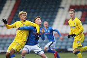 Lyle Taylor and Callum Camps during the EFL Sky Bet League 1 match between Rochdale and AFC Wimbledon at Spotland, Rochdale, England on 17 March 2018. Picture by Daniel Youngs.
