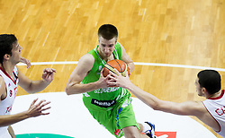 Matej Rojc of Slovenia vs Berkay Candan of Turkey during basketball match between National teams of Turkey and Slovenia in Qualifying Round of U20 Men European Championship Slovenia 2012, on July 17, 2012 in Domzale, Slovenia. Slovenia defeated Turkey 72-71 in last second of the game. (Photo by Vid Ponikvar / Sportida.com)