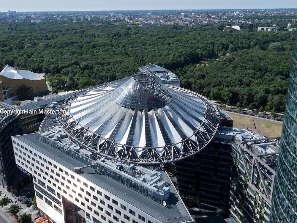 view over roof of Sony Center to Tiergarten park in Berlin Germany
