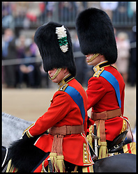 Prince Charles and Prince William alongside The Queen and the Duke of Edinburgh watch the  Queen's Trooping of the Colour, The Queen's Birthday Parade, on Horse Guards Parade, Saturday June 16, 2012. Photo by Andrew Parsons/i-Images..All Rights Reserved ©Andrew Parsons/i-Images .See Special Instructions