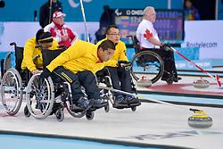 Haito Wang, Guangqin Xu, Qiang Zhang, Wheelchair Curling Finals at the 2014 Sochi Winter Paralympic Games, Russia
