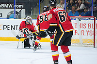 PENTICTON, CANADA - SEPTEMBER 17: Tyler Parsons #82 of Calgary Flames misses a save against the Edmonton Oilers on September 17, 2016 at the South Okanagan Event Centre in Penticton, British Columbia, Canada.  (Photo by Marissa Baecker/Shoot the Breeze)  *** Local Caption *** Tyler Parsons;