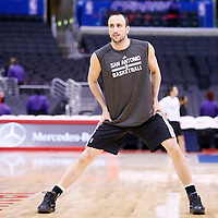 18 February 2014: San Antonio Spurs shooting guard Manu Ginobili (20) warms up prior to the San Antonio Spurs 113-103 victory over the Los Angeles Clippers at the Staples Center, Los Angeles, California, USA.