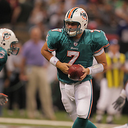 2008 August 28: Quarterback, Chad Henne of the Miami Dolphins looks to handoff to the running back during a game against the New Orleans Saints at the Louisiana Superdome in New Orleans, LA.
