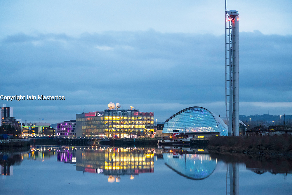 Night view of BBC Scotland Studios beside River Clyde in Glasgow, Scotland, United Kingdom.