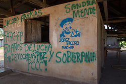 La Tunia, Meta, Colombia - 15.09.2016        <br /> <br /> The village La Tunia is located in a Colombian area which is controlled by the marxist guerrilla FARC. At the entrance of the village is road sign with the local prohibitive rules.<br /> <br /> Das Dorf La Tunia liegt in dem Teil Kolumbiens der von der marxistischen Guerilla FARC kontrolliert wird. Bereits an der Zufahrtsstrasse befindet sich ein Schild, welches auf lokale Verbote die Strafen bei Verstoeflen aufmerksam macht. <br /> <br /> Photo: Bjoern Kietzmann