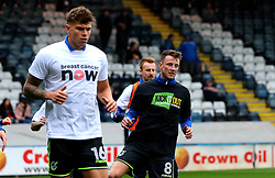 Ollie Clarke of Bristol Rovers and Tom Broadbent of Bristol Rovers wear 'Kick it Out' and 'Breast Cancer Now' shirts - Mandatory by-line: Robbie Stephenson/JMP - 21/10/2017 - FOOTBALL - Crown Oil Arena - Rochdale, England - Rochdale v Bristol Rovers - Sky Bet League One