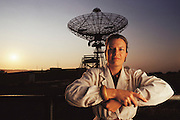 Jill Tarter. Portrait of Jill Tarter (1944-), American astrophysicist and SETI researcher with a radiotelescope at Stanford, CA. Palo Alto, California. MODEL RELEASED (1988)