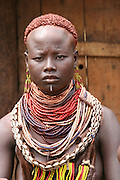 Africa, Ethiopia, Omo Valley, Karo tribesmen woman