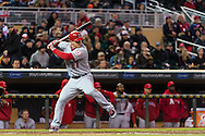 Mike Trout #27 of the Los Angeles Angels bats during a game against the Minnesota Twins on April 16, 2013 at Target Field in Minneapolis, Minnesota.  The Twins defeated the Angels 8 to 6.  Photo: Ben Krause